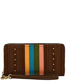 Women's Logan Stripe Leather Zip Around Wallet Wristlet