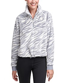 Animal-Print Half-Zip Top