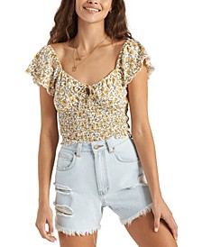 Juniors' Cotton Smocked Top