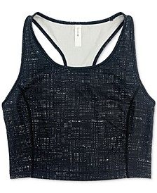Textured Long-Line Low-Impact Sports Bra, Created for Macy's