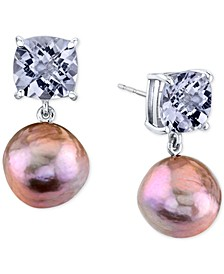 Pink Baroque Cultured Freshwater Pearl (12mm) & Pink Amethyst (5-5/8 ct. t.w.) Drop Earrings In Sterling Silver