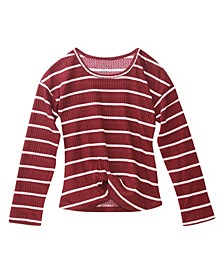 Big Girls Fashion Waffle Long Sleeve Top