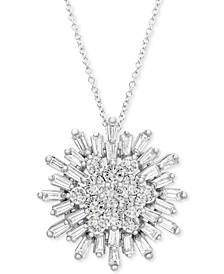 """Diamond Starburst 20"""" Pendant Necklace (1-1/2 ct. t.w.) in 14k White Gold, Created for Macy's"""