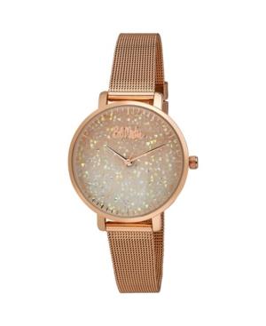 Women's Pink Alloy Bracelet Glitter Dial Mesh Watch