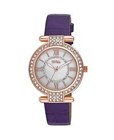 Women's Purple Polyurethane Strap Stone Encrusted T-Bar Watch, 35mm