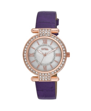 Women's Purple Polyurethane Strap Stone Encrusted T-Bar Watch