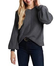 Rib-Knit Bubble Sleeve Sweater