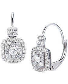 Diamond Cluster Drop Earrings (5/8 ct. t.w.) in 14K White Gold