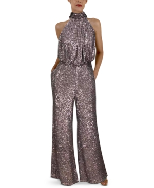 Eliza J Sequin Mock Neck Jumpsuit In Gunmetal