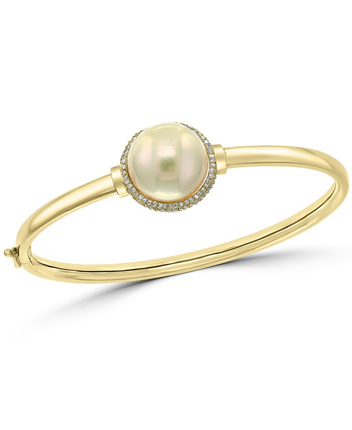 EFFY Collection - Cultured Freshwater Pearl (14-1/2mm) & Diamond (3/8 ct. t.w.) Bangle Bracelet in 14k Gold