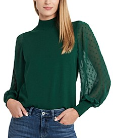 Mockneck Contrast Sleeve Sweater