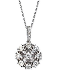 """Diamond Cluster Pendant Necklace (5/8 ct. t.w.) in 14k White Gold, 16"""" + 2"""" extender"""