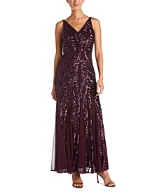Petite Size Sleeveless Sequin Gown