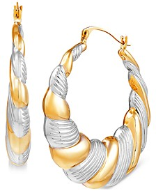 Scalloped Edge Two-Tone Puff Hoop Earrings in 14k Gold & Rhodium-Plate
