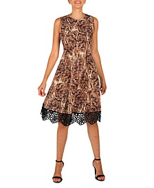Crochet-Hem Printed Dress