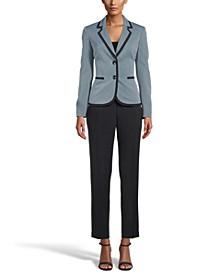 Contrast Two-Button Pantsuit