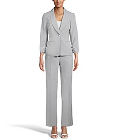 Ruched-Sleeve One-Button Pantsuit