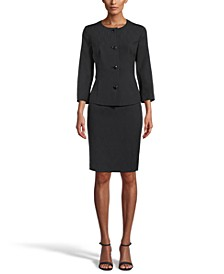 Crepe Notched-Collar Button-Front Skirt Suit