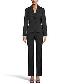 Mini Crosshatch Button-Front Notched-Collar Pantsuit