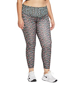 One Plus Size Floral-Print Women's Tights