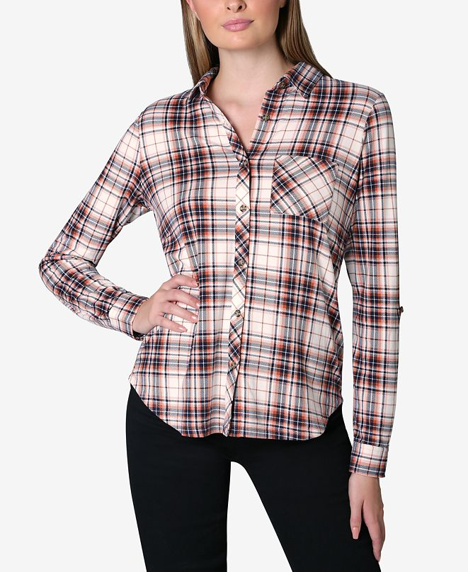Ultra Flirt Juniors' Cozy Plaid Shirt