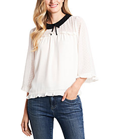 CeCe Ruffled Collared Top