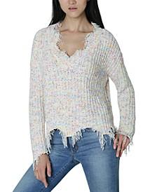 Juniors' Destructed Chenille Sweater