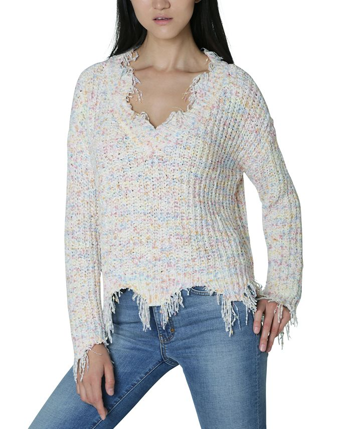 Ultra Flirt - Juniors' Ripped Chenille Sweater