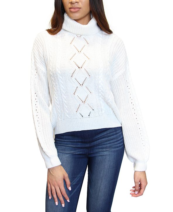 Crave Fame Juniors' Cable-Knit Turtleneck Sweater