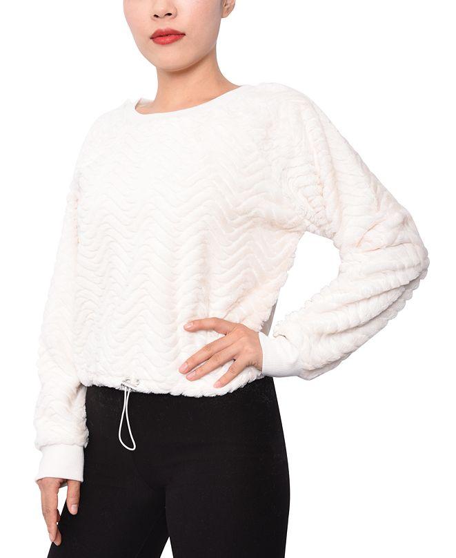 Planet Gold Juniors' Faux-Fur Chevron Sweatshirt