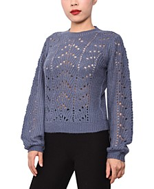 Juniors' Pointelle-Knit Sweater
