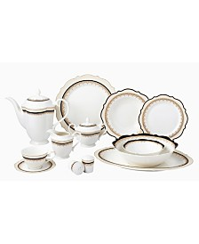 57 Piece Bone China Dalilah Dinnerware Set, Service for 8