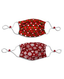 Kids Cotton Reversible Snowflake Pleated Face Mask, 2 Pack