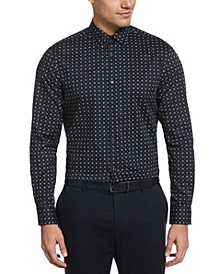 Men's Dainty Floral Dot Print Long Sleeve Button-Down Stretch Shirt with Collar Stays