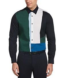 Men's Large Color Block Long Sleeve Button-Down Shirt