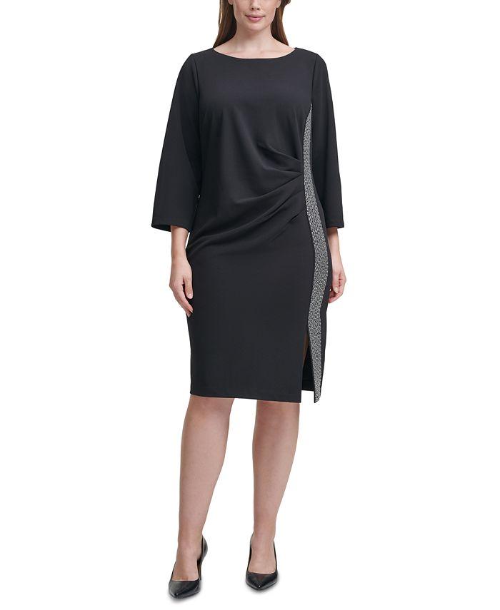 Calvin Klein - Plus Size Embellished-Side Sheath Dress