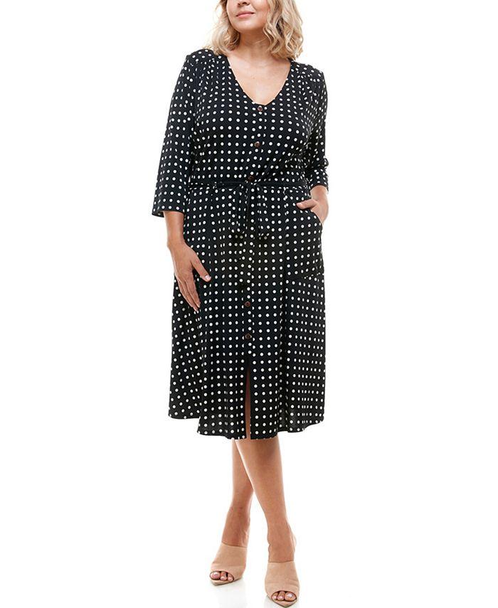 Monteau - Trendy Plus Size Sash-Belt Printed Midi Dress