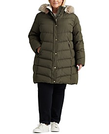 Plus Size Faux-Fur-Trim Hooded Down Coat