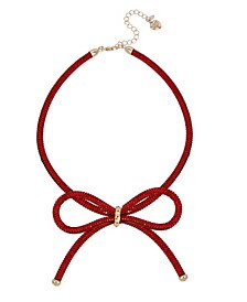 "Festive Mesh Bow Necklace, 16"" + 3"" extender"