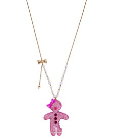 "Gingerbread Woman Pendant Long Necklace, 28"" + 3"" extender"