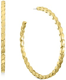 "INC Gold-Tone Medium Textured Open Hoop Earrings, 2"", Created for Macy's"