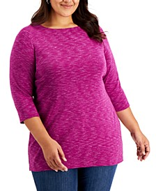 Plus Size Space-Dye Boat Neck Top, Created for Macy's