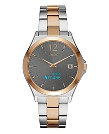 Unisex Connected Two-Tone Silver and Rose Gold Tone Stainless Steel Strap Smart Watch 38.5mm