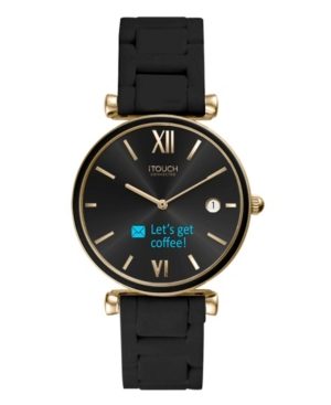 Connected Women's Hybrid Smartwatch Fitness Tracker: Gold Case with Black Metal Strap 38mm