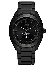 Connected Men's Hybrid Smartwatch Fitness Tracker: Black Case with Black Acrylic Strap 42mm