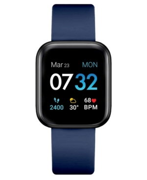 Air 3 Men's Touchscreen Smartwatch Fitness Tracker: Black Case with Navy Strap 44mm