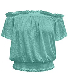 INC Cotton Smocked Peasant Top, Created for Macy's
