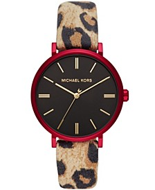 Women's Addyson Cheetah-Print Leather Watch 40mm