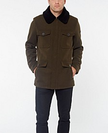 Men's Wool Coat With Sherpa Collar Jacket