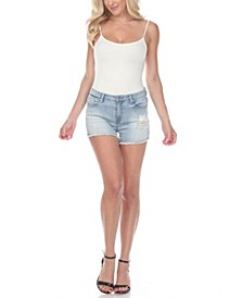 Women's Mid-Rise Ripped Denim Shorts